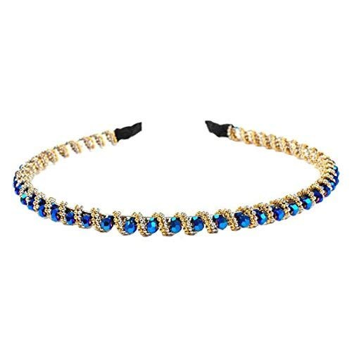 hair hoop - TOOGOO(R)Fashion Bling Rhinestone Hair Hoop Crystal Bead Headband For Bang Fringe-Royal blue