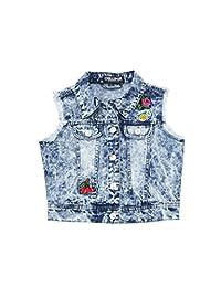 Chilipop Denim Vest for Little & Big Girls - Acid Wash with Patches