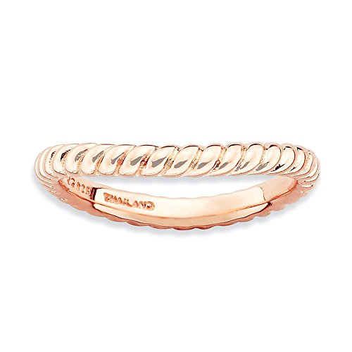 925 Sterling Silver Pink Plate Wave Band Ring Size 7.00 Stackable Curved Fine Jewelry Gifts For Women For Her from ICE CARATS