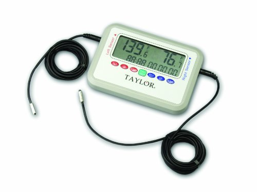 Taylor Precision Products Digital Recording Thermometer with Dual Glycol-Tolerant Probes -40- to 221-Degrees Fahrenheit, -40- to 105-Degrees Celsius, 26-Inch Probes