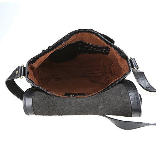 Chicca Borse Unisex Maletín Organizador Bolso de hombro en cuero genuino Made in Italy 32x28x8 Cm Negro