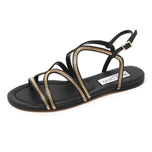 C8946 sandalo donna JIMMY CHOO NICKEL FLAT scarpa nero/oro shoe woman nero/oro