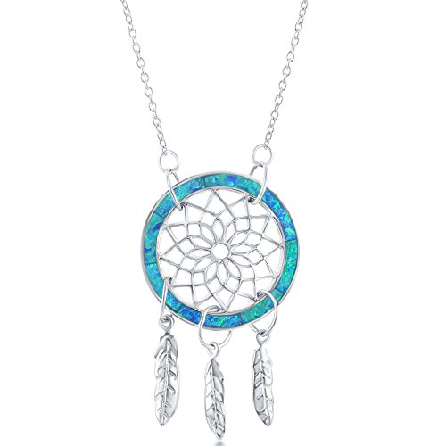 "Sterling Silver Created Blue Opal Dreamcatcher 16+2"" Necklace"
