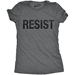 Crazy Dog T-Shirts Womens Resist Tee United States Of America Protest Rebel Political T Shirt (Grey) XL