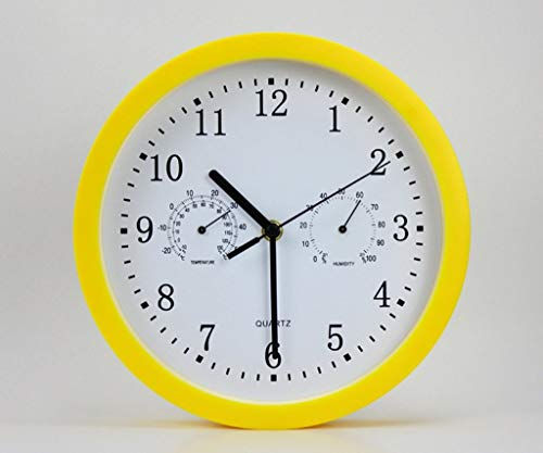 - YHEGV The Temperature, Humidity h Lounge Wall Clock Quartz Wall Clock Mute Single-Mode (Color: Yellow)