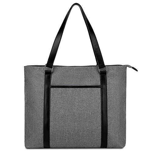 Gywon Women's Work Tote Laptop Shoulder Bag Nylon Totes Genuine Leather Handle Handbag Purse Briefcase Fits 15.6 inch Computer for School Business Office Travel Beach