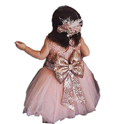 Automan Rose Gold Sequins Bow Lovely Flower Girls Big Bow Sash Belt (S(0-4T), Rose) (Bow Sequin Large)