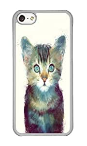 Apple Iphone 5C Case,WENJORS Unique Cat Aware Hard Case Protective Shell Cell Phone Cover For Apple Iphone 5C - PC Transparent