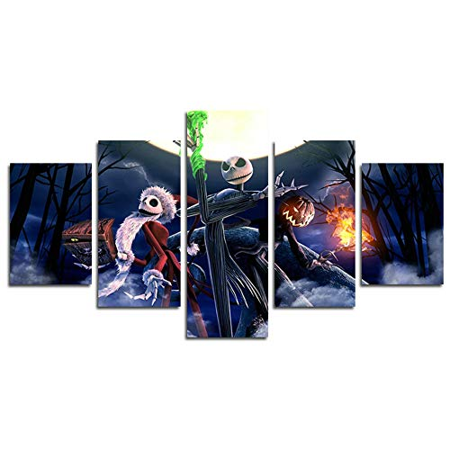 HCOZY Print Painting Canvas, 5 Pieces Nightmare Before Christmas Canvas Wall Art Painting for Home Living Room Office Mordern Decoration Gift(Unframed)