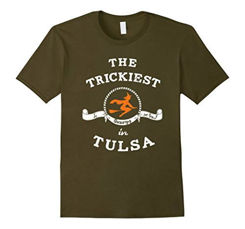 Mens The Trickiest Witch In Tulsa Halloween T-Shirt Funny Small (Party City Tulsa Halloween Costumes)