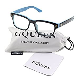 Glasses Queen 201584 Modern Fashion Rectangular Bold Thick Frame Clear Lens Eye Glasses,Black Blue