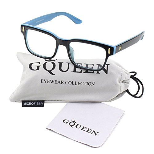 Glasses Queen 201584 Modern Fashion Rectangular Bold Thick Frame Clear Lens Eye Glasses,Black - Clear Glasses Nerdy Fake
