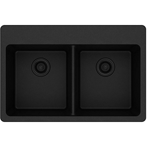- Elkay Quartz Classic ELG3322BK0 Black Equal Double Bowl Top Mount Sink