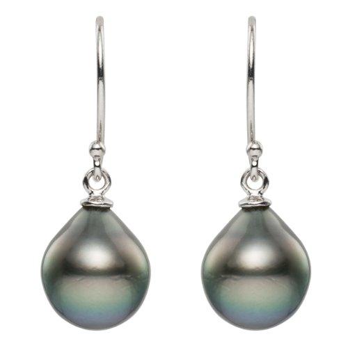 14k-White-Gold-Black-Tahitian-Cultured-Tear-drop-Pearl-95-10mm-Hook-Earrings
