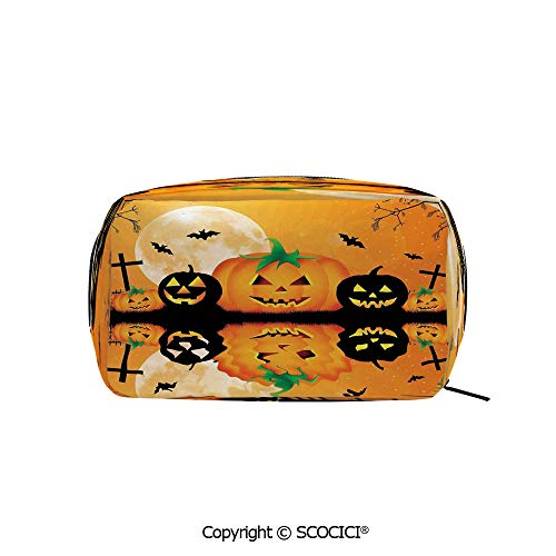 Rectangle Printed Beauty Cosmetic Bag Pouch Spooky Carved Halloween Pumpkin Full Moon with Bats and Grave Lake Women fashion Toiletry Travel -