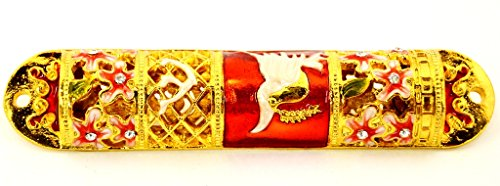 FLORAL DESIGN MEZUZAH CASE WITH FULL DECORATIVE BACK RED ENAMEL by Ciel Collectables