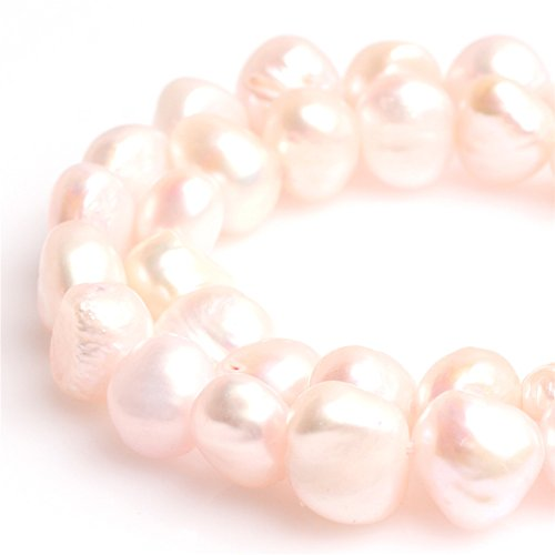 Joe Foreman 7-8mm Dyed Freshwater Cultrued Pearl Freeform Loose Beads For Jewelry Making Wholesale Beads Strand Light Pink (Natural Mother Of Pearl Necklace)