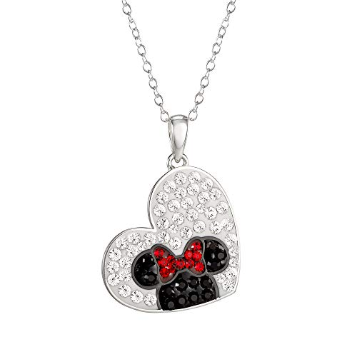 "Disney, Minnie Mouse Cubic Zirconia Heart Pendant Necklace, 18"" Chain"