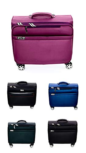 - 4 Wheel Drive Laptop Rolling Trolley 360 Spinner Travelling Suitcase Business Catalog Case (Black Red)