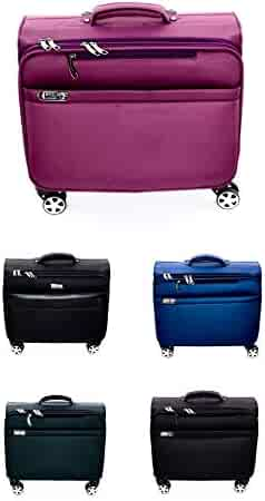 4 Wheel Drive Laptop Rolling Trolley 360 Spinner Travelling Suitcase Business Catalog Case (Black Red)