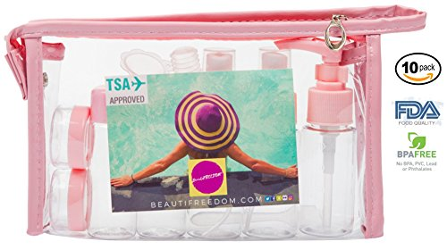 Airline Refillable Travel Bottles TSA Approved Set 100% Guaranteed Leak Proof - Perfect GIFT - BPA-free with 3-1-1 Travel TSA Approved Bag for Liquids (Shampoo, Perfume) Toiletry Bag (Coral Pink)