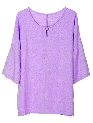 Minibee Women's Elbow Sleeve Linen Tunic Tops Solid Color Retro Blouse Purple 2XL