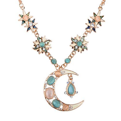 Imixlot Rhinestone Enamel Star Sun Moon Flower Pendant Necklace Dangle Earrings