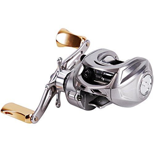 Sougayilang Magnetic Tuned Brake Low Profile Baitcasting Fishing Reel Left/Right Hand (Right)