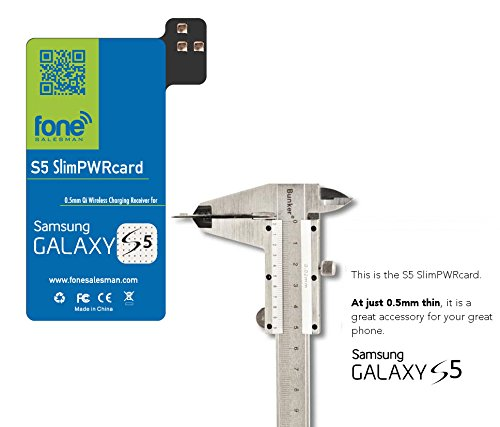 S5 SlimPWRcard - 0.5mm Ultra Thin Qi Receiver Card Module for Samsung Galaxy S5 V Compatible with S-View Cover and NFC Function, Recommended to Use with QiStone+ & WoodPuck or - Wireless Covers Phone