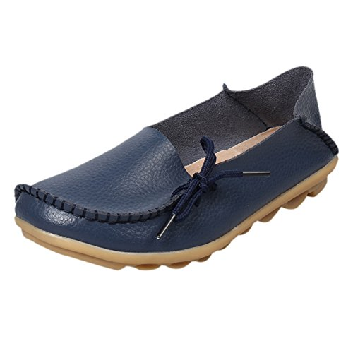 fereshte Women's Leather Moccasins Flats Casual Driving Loafers Shoes #1 Dark Blue