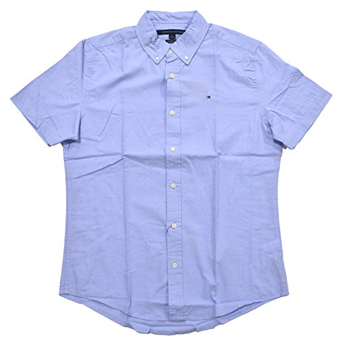Custom Button Down Shirts (Tommy Hilfiger Mens Custom Fit Short Sleeve Buttondown Shirt (Large, Light Blue))