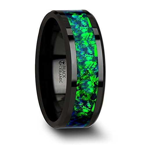 PULSAR Black Ceramic Wedding Ring with Emerald Green and Sapphire Blue Opal Inlay and Polished Beveled Edges Comfort Fit Lightweight Durable Wedding Band - 8mm by Thorsten Rings ()