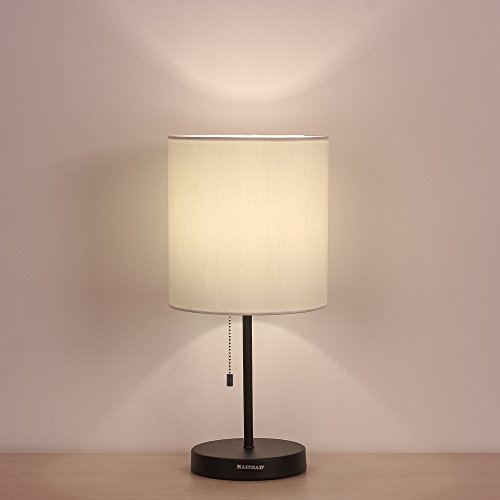 HAITRAL Table Lamp Metal base Fabric Lamp Shade Night light for Living Room, Bedroom, College Dorm