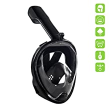 Rocontrip Diving mask 180°View Snorkel Mask, Panoramic Full Face Design, Anti-Fogging Anti-Leak with Adjustable Head Straps with Longer Snorkeling Tube for Man Woman Adult Youth Kid(S/M)