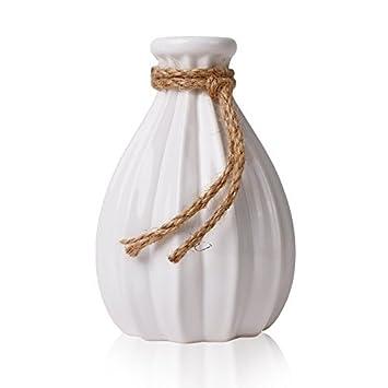 Hannahu0027s Cottage Keramik Vasen, 21cm Weiß Handgefertigte Moderne Dekorative  Vase Mit Hanfseil Für Wohnzimmer,