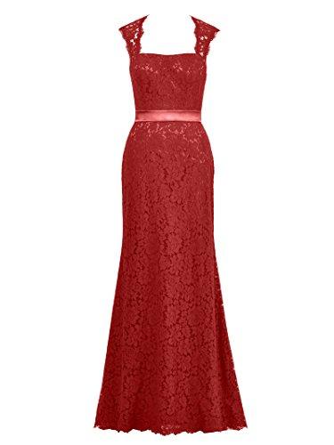 Alicepub Dos Ouvert Robe De Soirée En Dentelle Pour Les Femmes Robe Formelle De Fête Sexy Longue Maxi Rouge