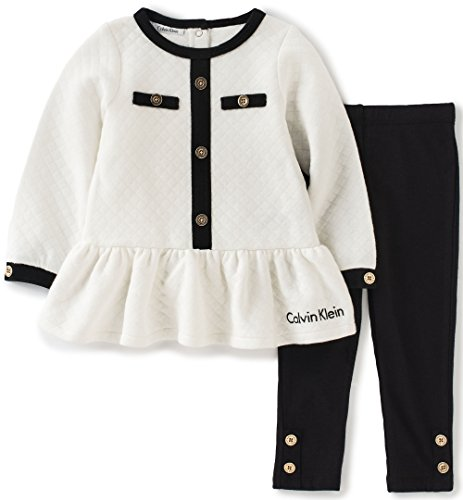 cbf6939611f Calvin Klein Baby Quilted 2 Piece Tunic/Leggings Set, Black, - Import It All