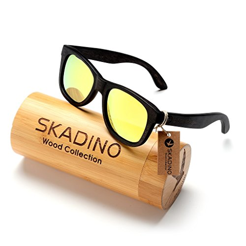 SKADINO Wayfarer Beech Wood Sunglasses with Polarized Lenses-Handmade Floating Wooden Shades for Men & Women by SKADINO