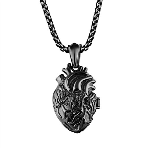 Pauro Mens Stainless Steel Anatomical Organ Heart Pendant Necklace Black Large  Locket Style