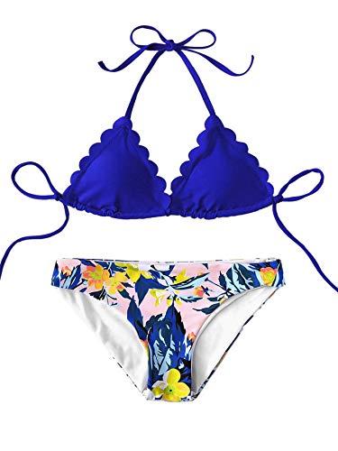 SweatyRocks Women's Sexy Bathing Suits Scallop Halter Bikini Top Floral Print Two Piece Swimsuits Blue X-Large