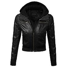 Plus4u Women's Faux Leather Fleece Contrast Detachable Hooded Jacket