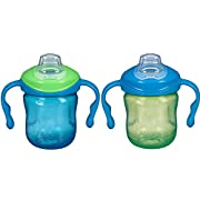 Playtex Sipsters Stage 1 Spill-Proof, Leak-Proof, Break-Proof Soft Spout Sippy Cups for Boys - 6 Ounce - 2 Count
