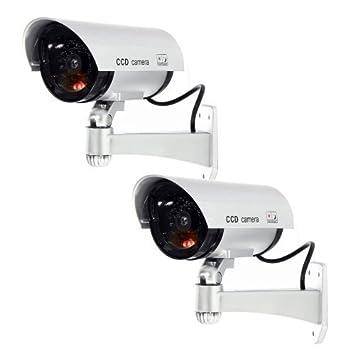 Masione 2 pieza Negro Dummy Vigilancia CCD con LED Fake Cámara ficticia CCTV Camera Cámara de