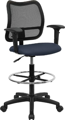 (MidBack Mesh Drafting Chair with Navy Blue Fabric Seat and Height Adjustable Arms)