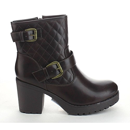 Booties Women's Refresh Strap Ankle Buckle Platform Quilted Chunky Brown fwqCq10x