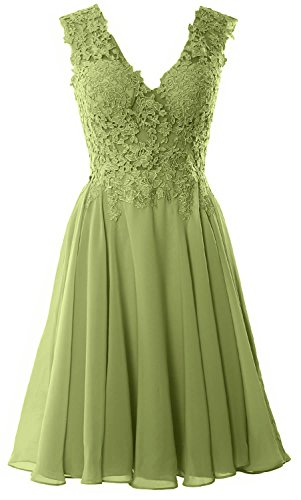 MACloth Gorgeous V Neck Cocktail Dress Short Lace Prom Homecoming Formal Gown clover