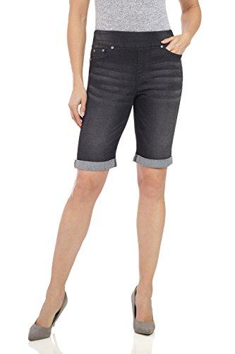 Rekucci Women's Ease in to Comfort Fit Stretch Jean Bermuda Short W/Cuff (4,Black Sand)