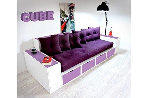 ABC MEUBLES - Boxensofa, mit Schubladen - CANAPCUBLB - Lilas