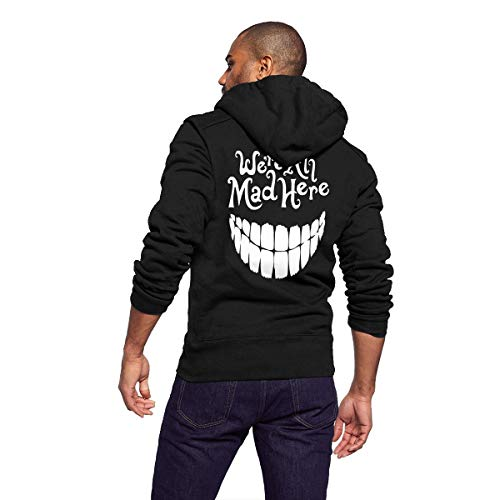 GLYASDI.S Sportswear Full Zip Up Club Fleece Hoodie Midweight Zip Front Hooded Sweatshirt Jacket for Men and Women - We're All Mad Here (Clown Smile) -