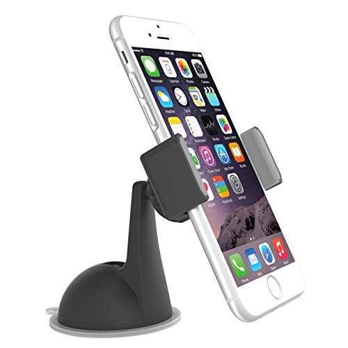 LAX Universal Dashboard-mounted Smart Phone Holder with Non-Slip Grip Bracket - Compatible with Most Smartphones & Mini Tablets - 360 Degrees Swivel Mount - Super Stable Suction Cup Car Mount